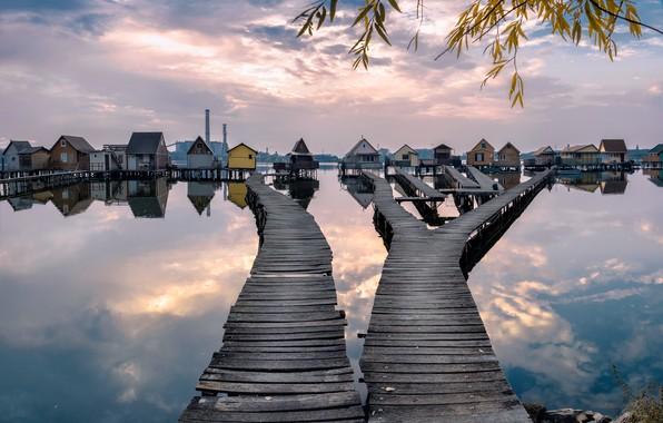 Picture sunset, autumn, lake, Hungarian, stilt houses
