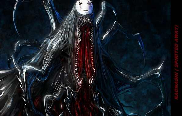 Picture fear, blood, monster, teeth, mask, mouth, horror, faceless, Spirited Away, Spirited away, the tentacles, kaonashi