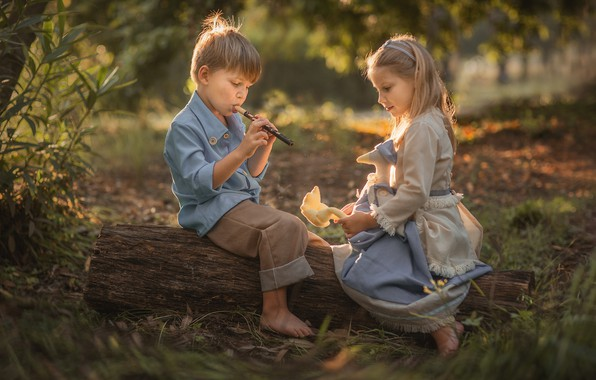 Picture summer, nature, children, toy, the game, boy, girl, log, a couple, the flute, Evgeny Loza, …