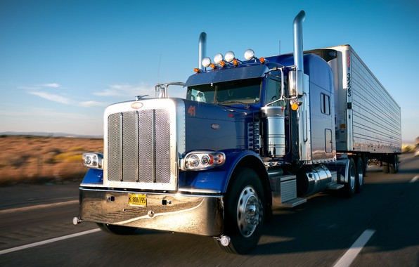 Picture road, movement, truck, Peterbilt