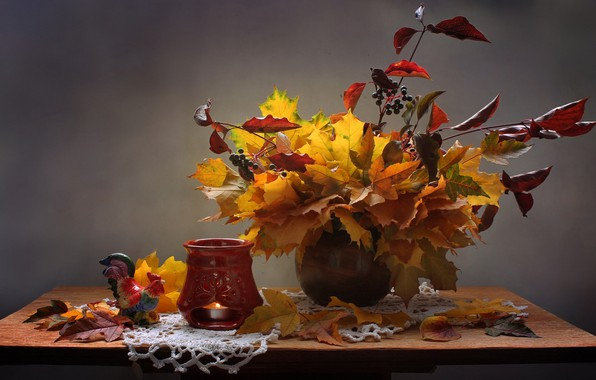 Picture leaves, branches, berries, candle, vase, still life, table, candle holder, napkin, figure, cock, Kovaleva Svetlana