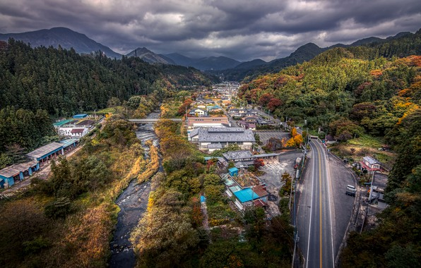 Picture road, forest, the sky, clouds, trees, mountains, clouds, bridge, river, HDR, home, Japan, valley, the …