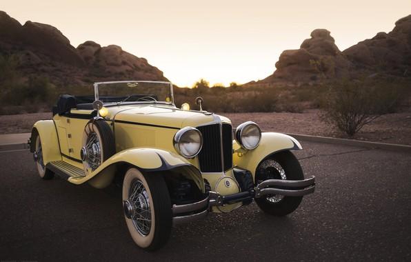 Picture Yellow, Cabriolet, Retro, 1932 Cord L-29 Convertible