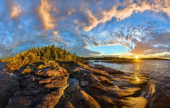 Picture the sky, sunset, rocks