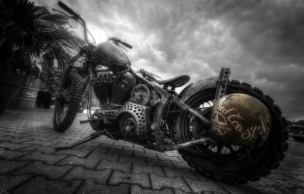 Picture the city, street, motorcycle