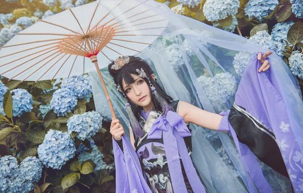 Picture purple, summer, look, girl, decoration, flowers, face, pose, style, lilac, portrait, umbrella, hands, garden, dress, …