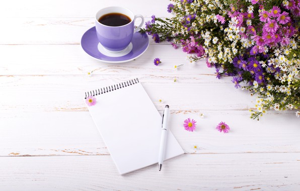Picture summer, flowers, coffee, handle, Notepad