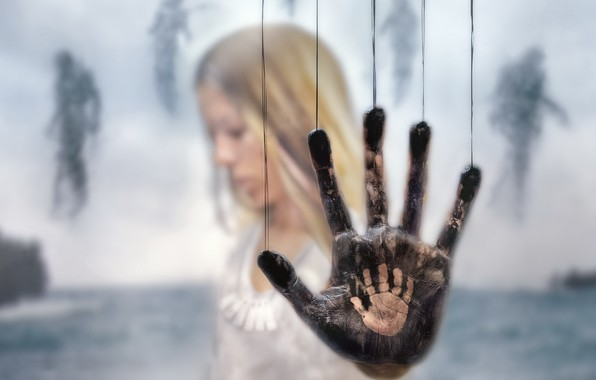 Picture glass, background, hand, palm, death stranding