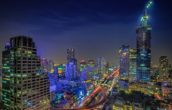 Picture landscape, night, the city, lights, building, beauty, Thailand, Bangkok