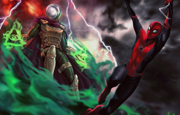 Picture Art, Jake Gyllenhaal, Peter Parker, Spider Man, Tom Holland, Mysterio, Spider Man:Far from home