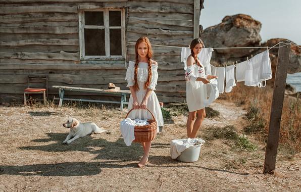 Picture house, linen, dog, Girls, Kate, wash, Oksana, Evgeny Freyer, Eugene Freyer
