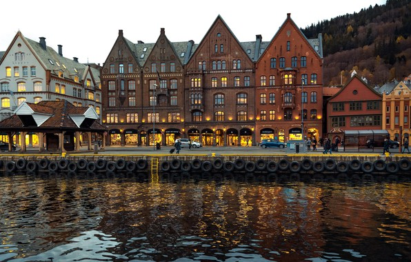 Picture photo, Home, The city, River, Norway, Bergen