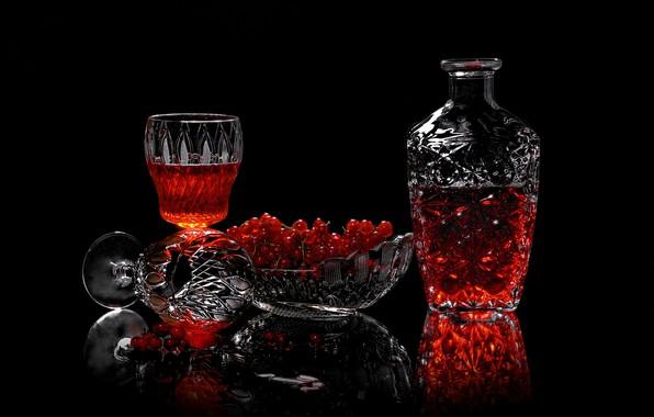 Picture berries, glasses, drink, currants, vase, decanter, Sergey Pounder