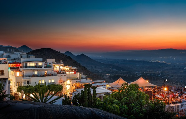 Picture landscape, mountains, the city, home, the evening, lighting, Spain, apartments, Andalusia, Mojacar