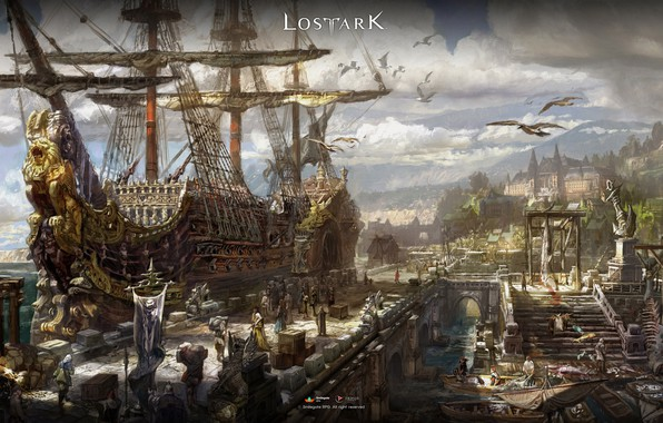 Picture city, fantasy, game, sky, sea, clouds, people, ship, digital art, boats, pier, artwork, harbor, goods, …