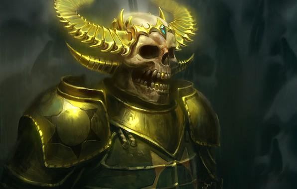 Picture armor, fantasy, art, skeleton, horns