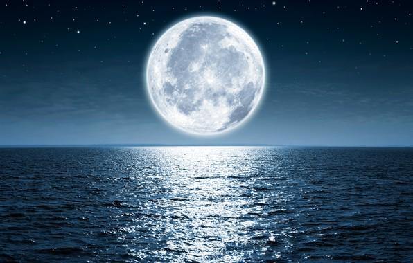 Picture moon, ocean, water, night