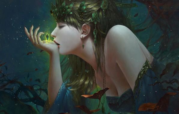 Picture girl, decoration, magic, hand, fantasy, profile, art