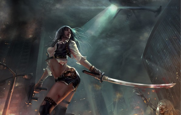Picture girl, night, pose, weapons, smoke, art, zombies, helicopter