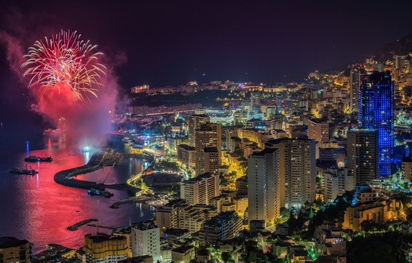 Picture lights, the evening, fireworks, Monaco