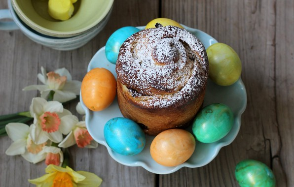 Picture flowers, eggs, Easter, cake, daffodils, eggs