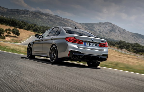 Picture grey, movement, BMW, sedan, track, rear view, 4x4, 2018, four-door, M5, V8, F90, M5 Competition