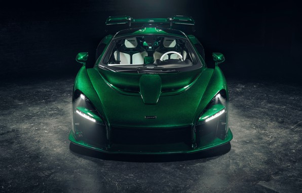 Picture McLaren, supercar, front view, 2018, Senna, MSO, Fux Green