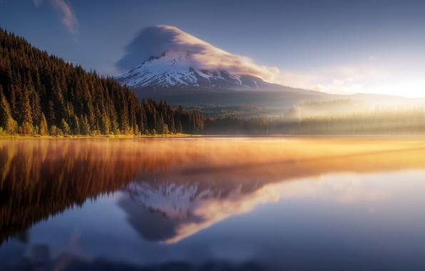 Photo wallpaper sea, mountain, morning