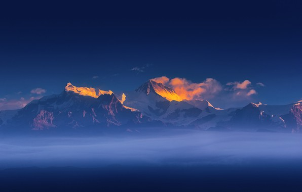 Picture the sky, clouds, light, snow, mountains, the wind, light, sky, mountains, clouds, snow, wind