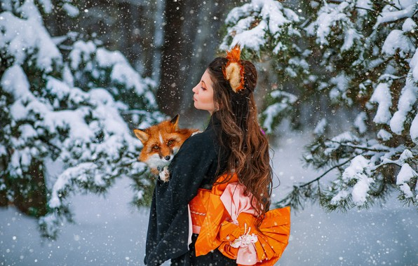 Picture winter, forest, girl, snow, pose, Fox, red, kimono, Veronica, ears, long hair, Александра Савенкова