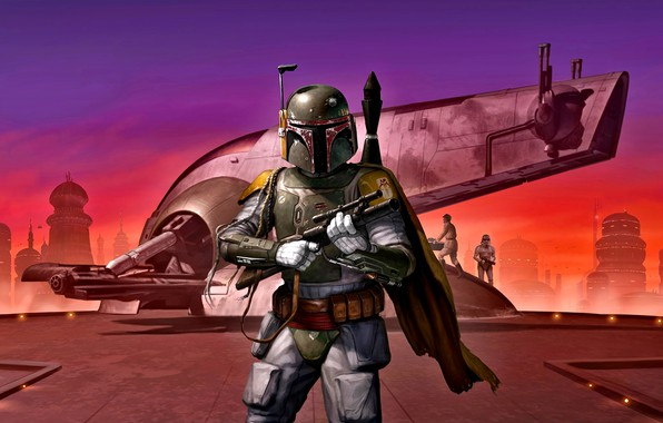 Picture Star Wars, Boba Fett, the bounty hunter, Bespin, Slave I, Cloud city