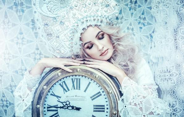 Picture girl, pose, style, watch, hands, makeup, lace, closed eyes, kokoshnik, Anastasia Golubeva