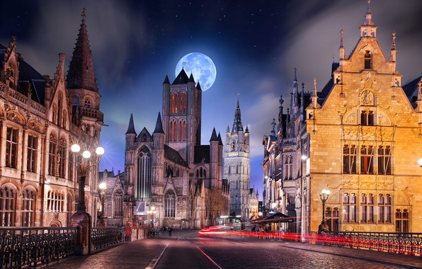 Picture road, night, the city, the moon, street, building, lights, Cathedral, tower, Belgium, Ghent