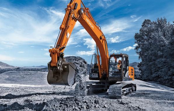 Picture sand, the sky, cabin, excavator, caterpillar, bucket, the ground, quarry, Hitachi, construction equipment, the excavator …