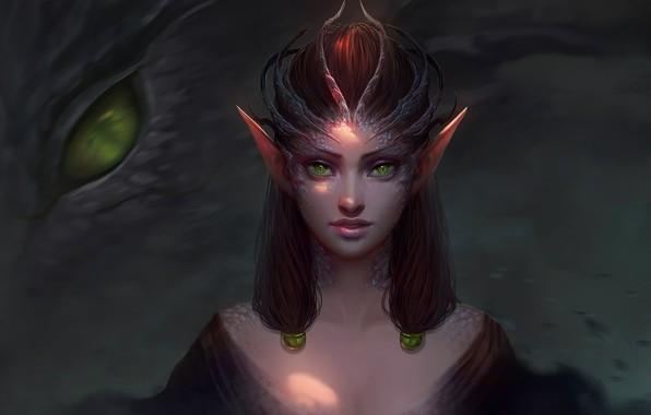 Picture dark, girl, fantasy, green eyes, dragon, digital art, artwork, fantasy art, Elf, creature, fantasy girl, …