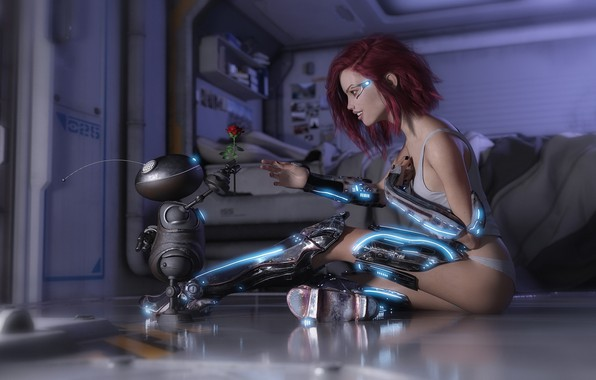 Picture girl, rose, fantasy, flower, Robot, science fiction, sci-fi, rendering, digital art, artwork, fantasy art, cyborg, ...