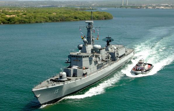 "Picture Wave, Tug, Of the Navy of Chile, Armada de Chile, Frigate, Type ""Karel Dorman"", Almirante …"