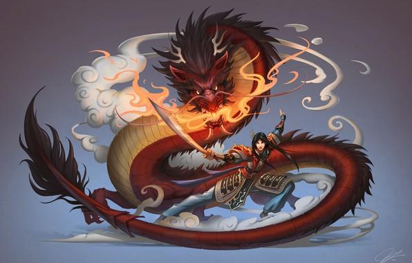 Picture Girl, Dragon, Style, Fantasy, Art, Asian, Fiction, Female, Mulan, Mulan, Chinese, Chinese Dragon, by Jue …