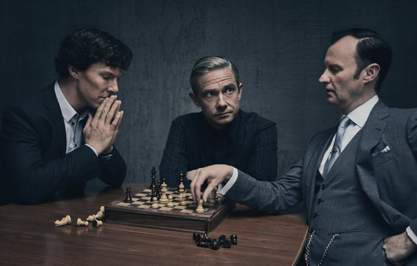 Picture background, the game, chess, Martin Freeman, Benedict Cumberbatch, Benedict Cumberbatch, Sherlock, Mark Gatiss, Mycroft Holmes, …