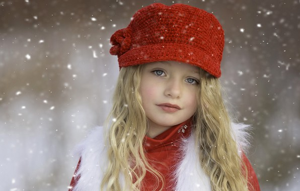 Picture winter, look, snow, face, mood, clothing, tenderness, child, portrait, blonde, girl, beautiful, red, grey eyes, …
