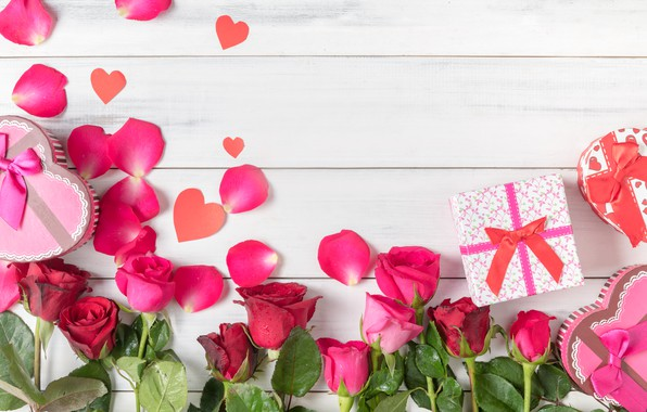 Picture love, flowers, heart, roses, petals, gifts, hearts, love, heart, pink, romantic, gift, petals, roses, valentine`s …