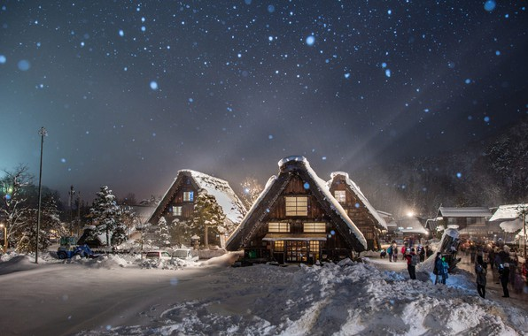 Picture winter, light, snow, trees, landscape, nature, people, village, home, the evening, Japan, lighting, shadows, tourists, …