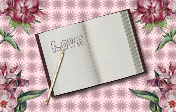 Picture background, the inscription, Notepad, pencil