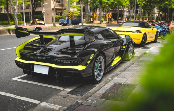 Picture sports car, rear view, McLaren Senna
