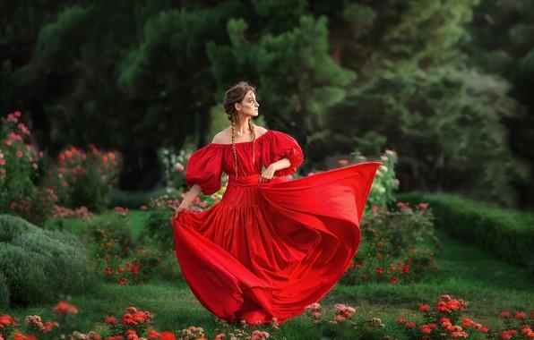 Picture girl, flowers, pose, mood, garden, red dress, Anastasia Barmina