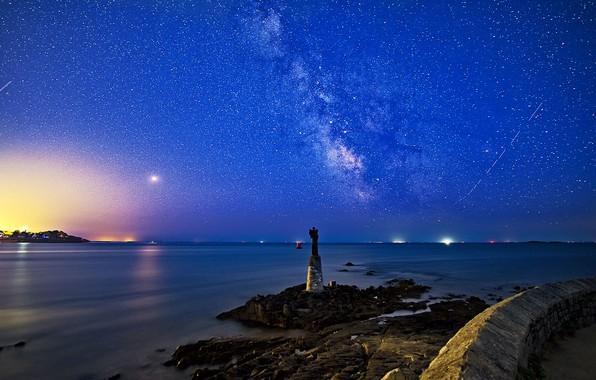 Picture sea, night, France, statue, the milky way, France, Brittany, starry sky, Brittany, Pointe de Kerpenhir, …