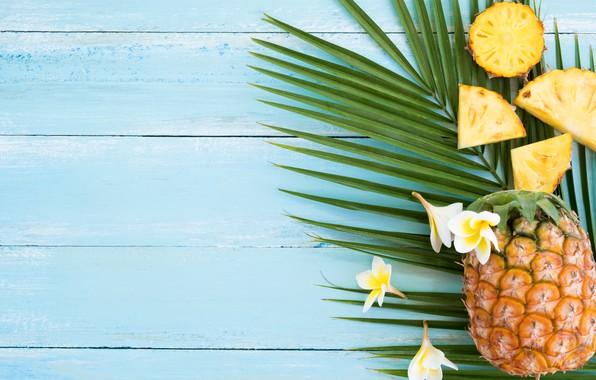 Picture summer, fruit, pineapple, fresh, wood, slices, flowers, fruit, pineapple, plumeria, tropical, plumeria, slice