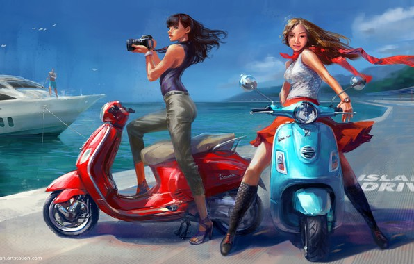 Picture sea, summer, girls, stay, yacht, art, scooter, Vadim Gousmanov, Island Drive
