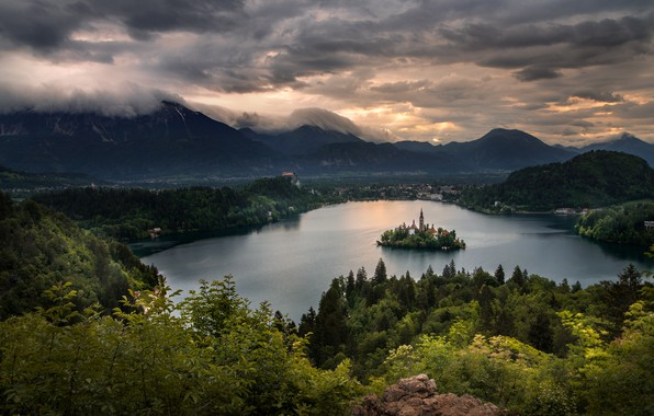 Picture clouds, landscape, mountains, clouds, nature, lake, dawn, morning, chapel, island, forest, Slovenia, Bled