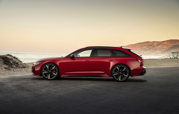 Picture red, Audi, silhouette, universal, RS 6, 2020, 2019, V8 Twin-Turbo, RS6 Avant